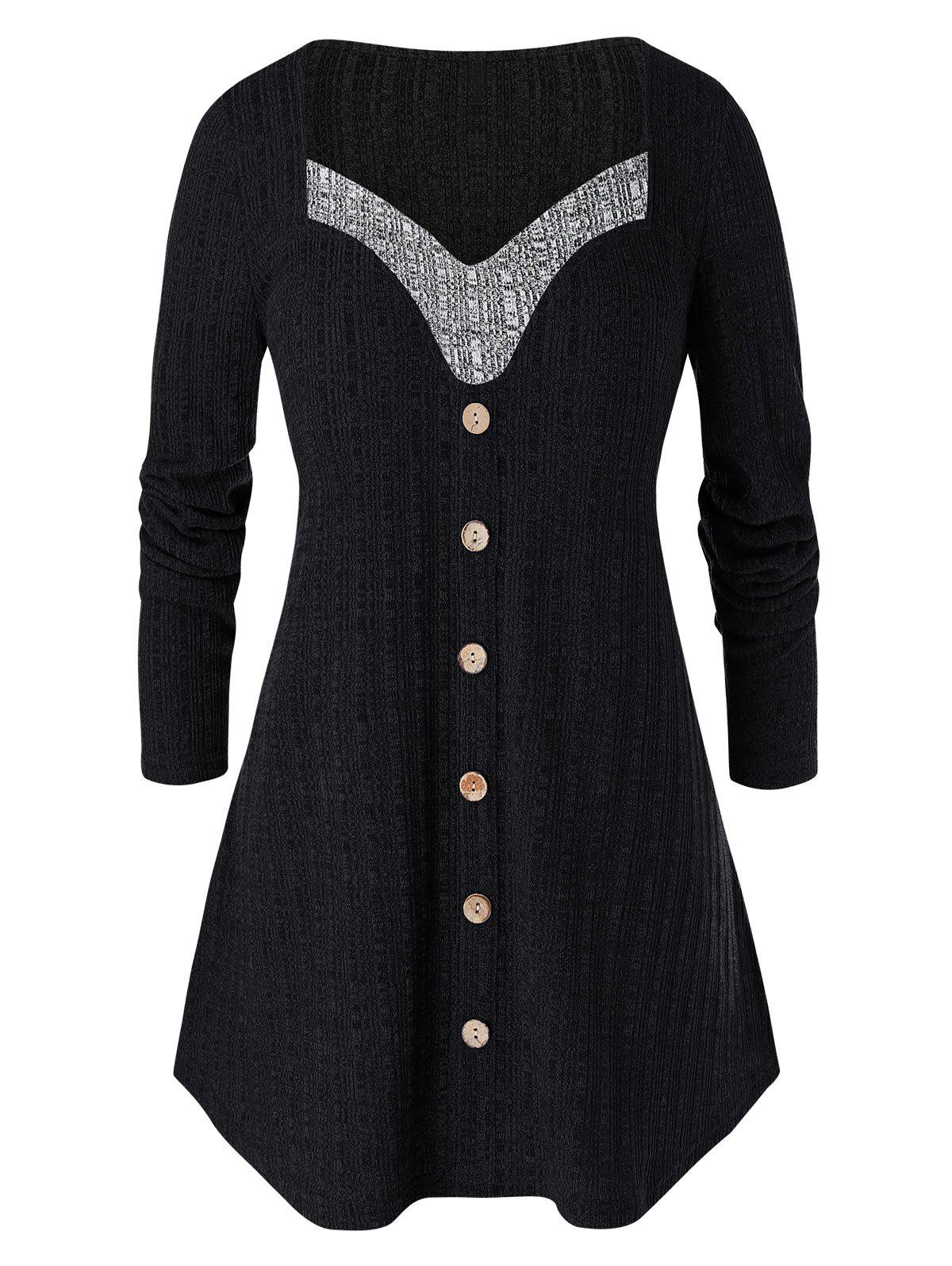 Outfit Plus Size Long Sleeve Two Tone Tunic Sweater