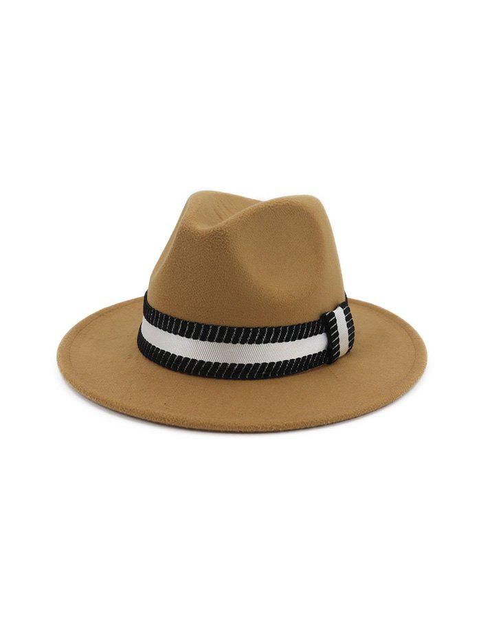 Shops Striped Ribbon Flat Brim Jazz Hat