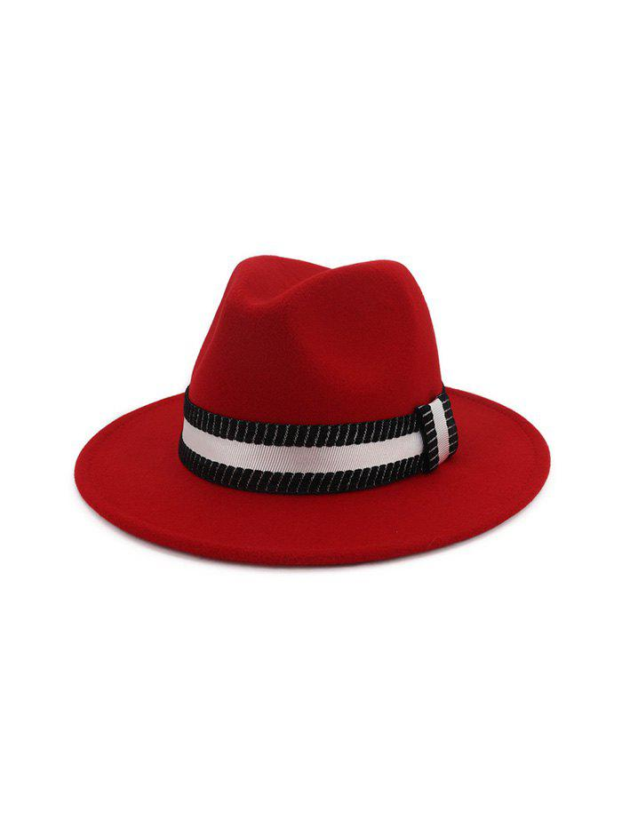 Hot Striped Ribbon Flat Brim Jazz Hat