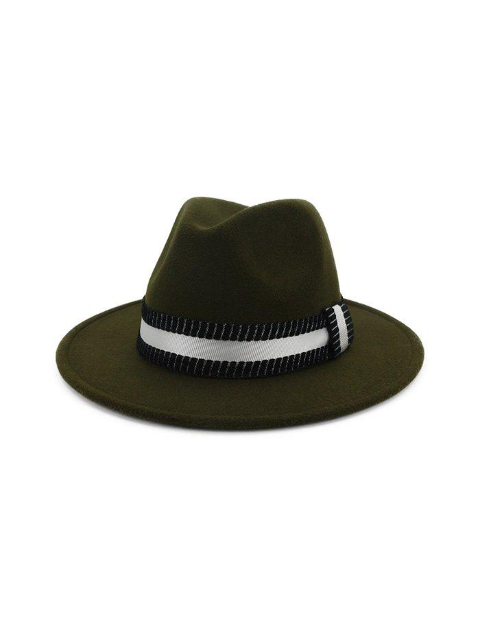 Discount Striped Ribbon Flat Brim Jazz Hat