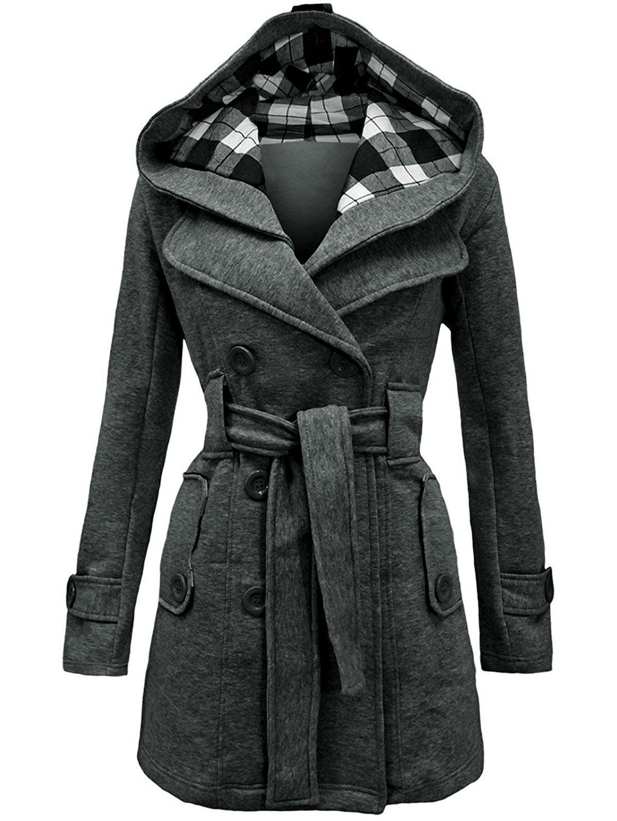 Shop Belted Detachable Hood Double Breasted Plus Size Wool Blend Coat