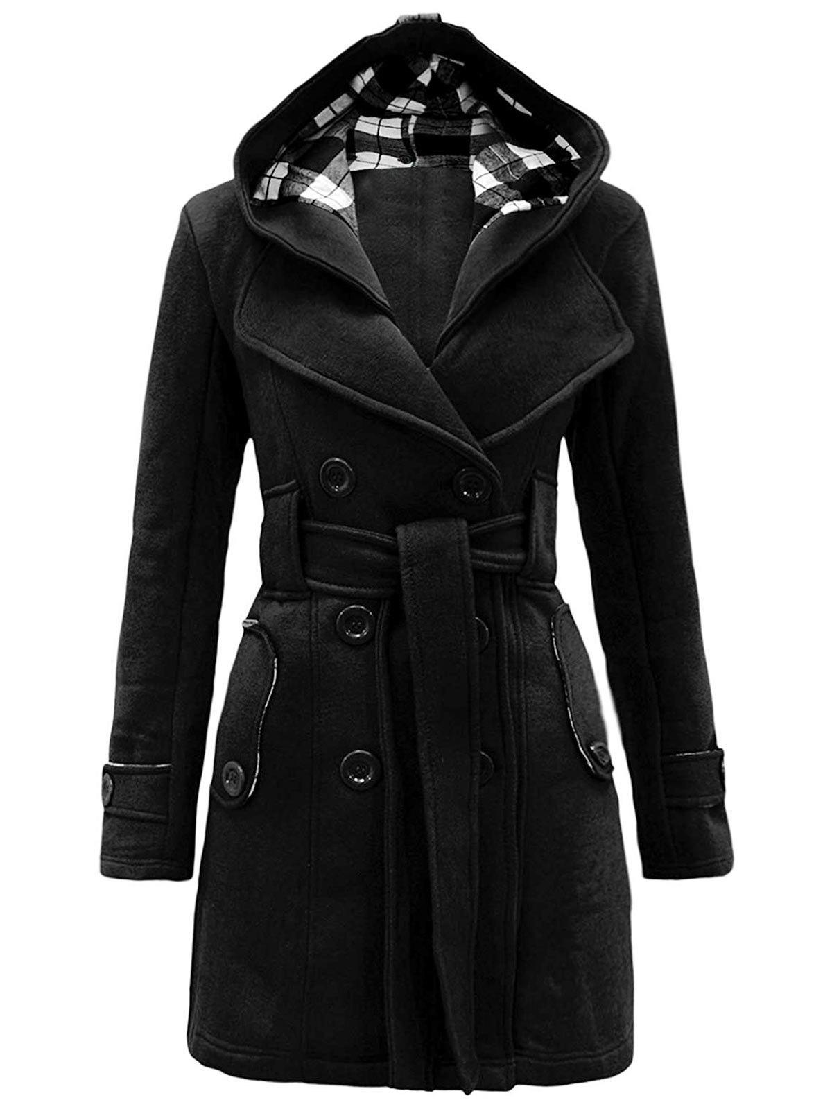 New Belted Detachable Hood Double Breasted Plus Size Wool Blend Coat