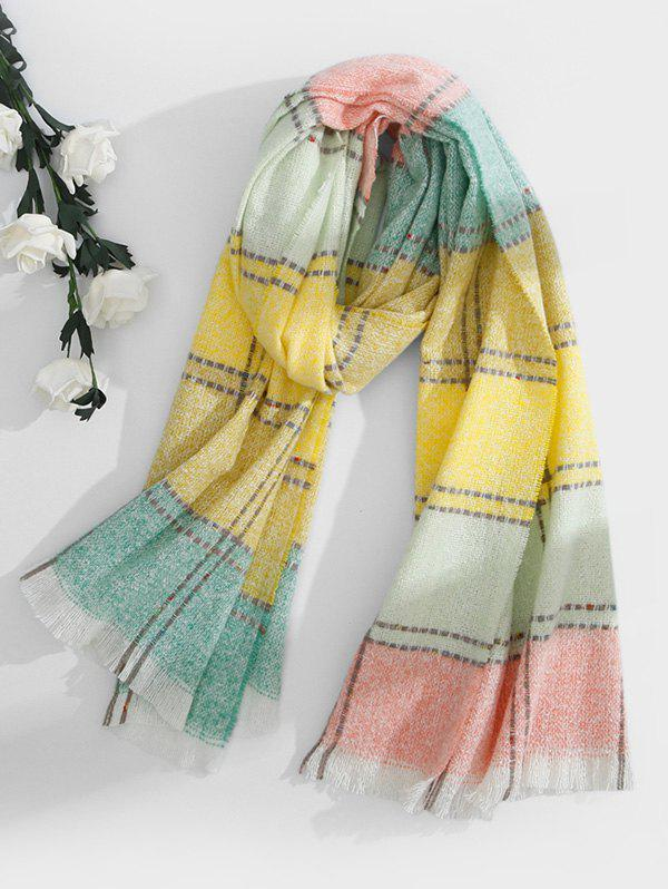 Fancy Checkered Fringed Long Scarf