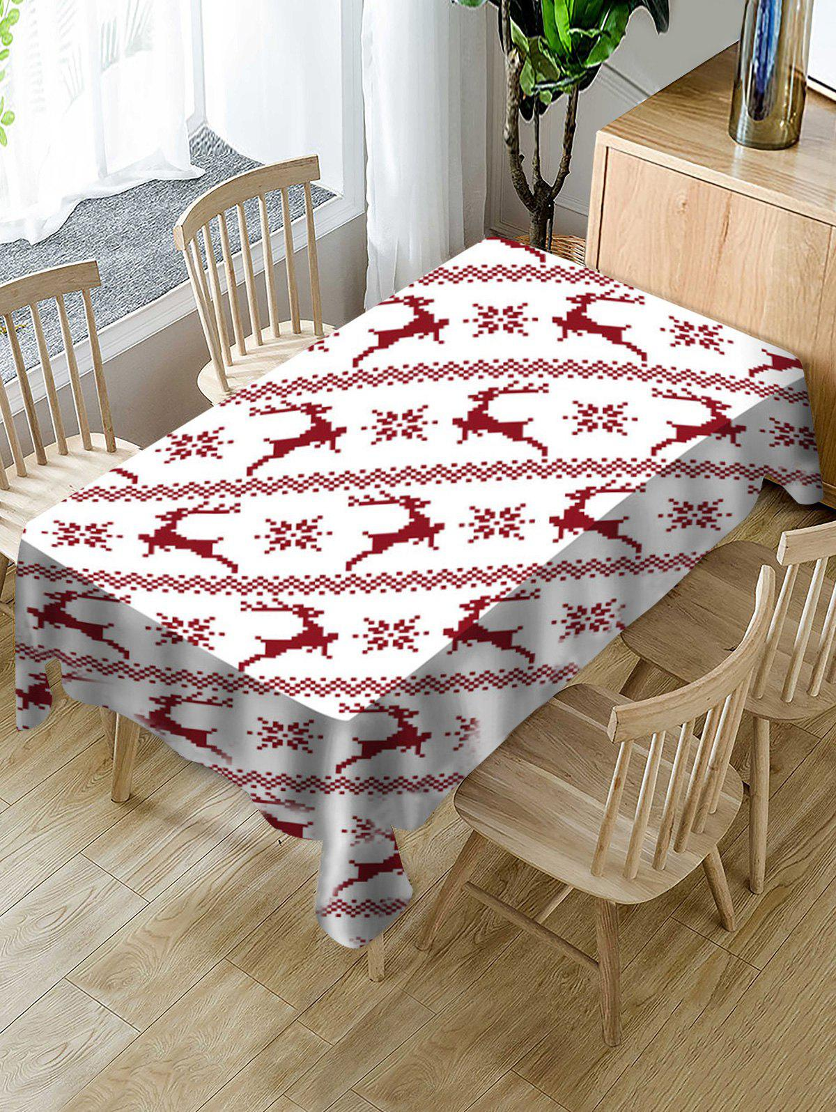 Unique Christmas Deer Fabric Waterproof Table Cloth