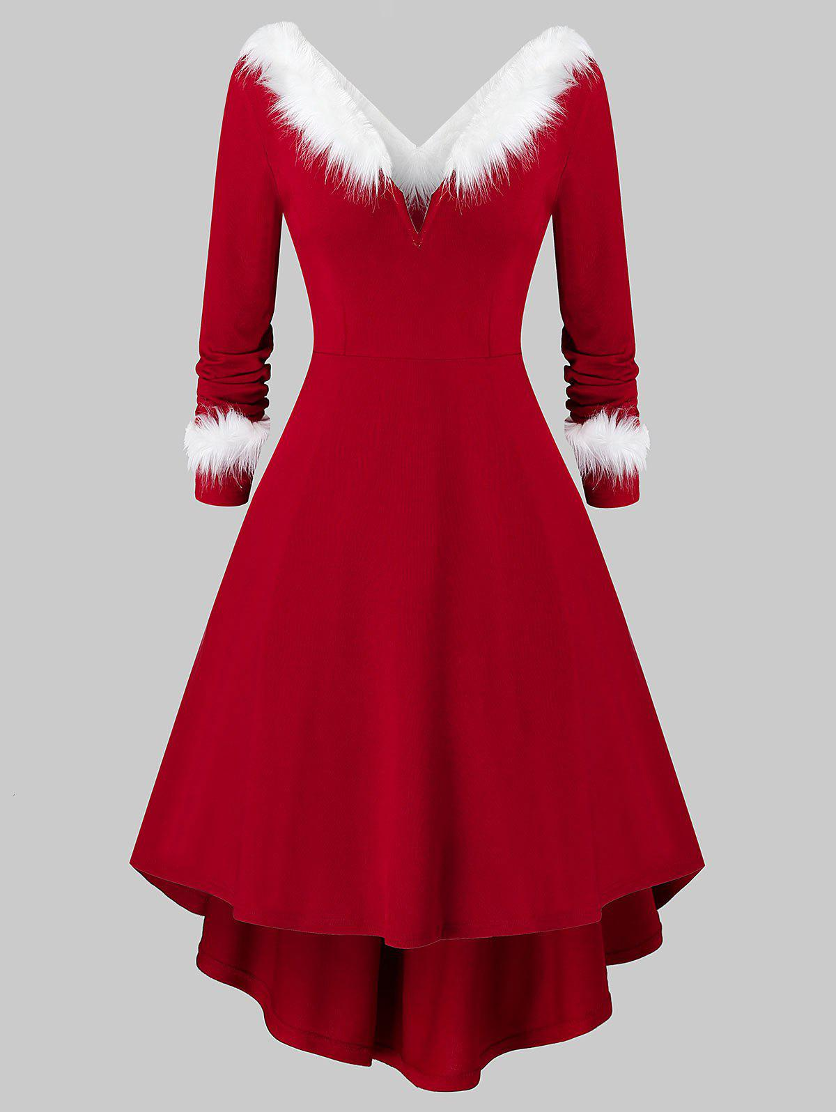 Unique Plus Size Christmas Asymmetrical Faux Fur Panel Knitted Dress
