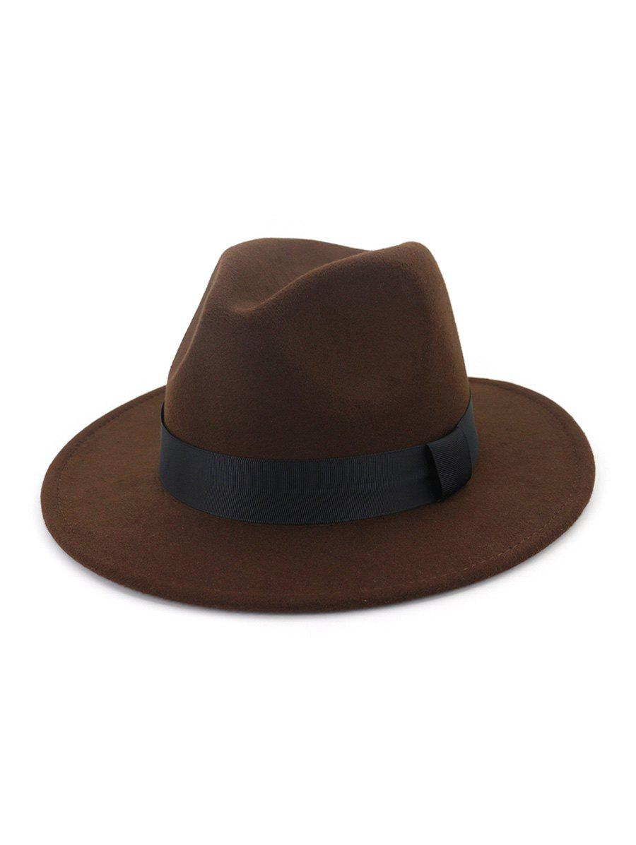 Trendy Woolen Solid Floppy Jazz Hat