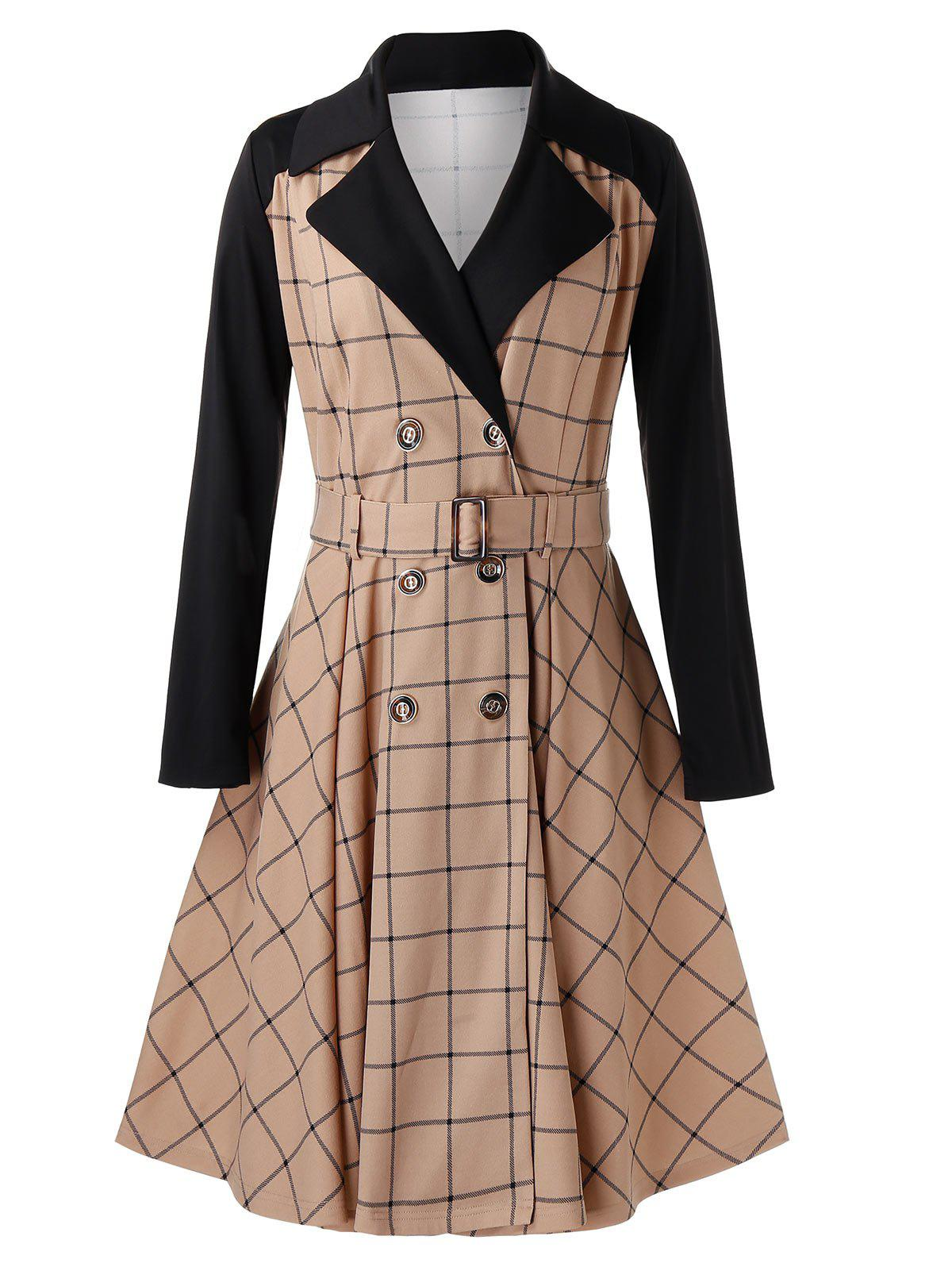New Plus Size Grid Contrast Sleeve Trench Coat