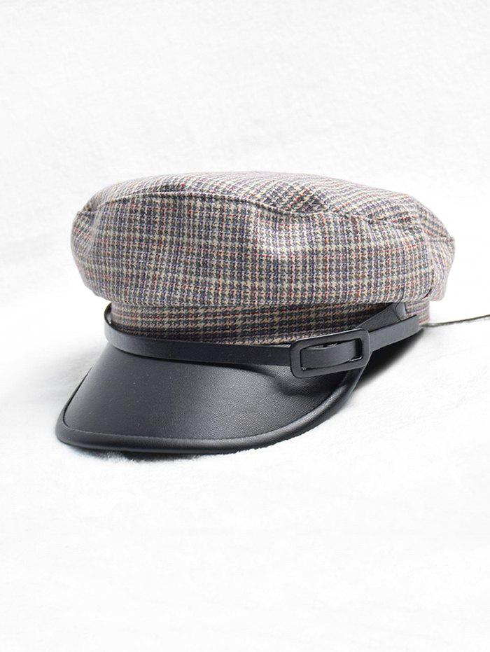 57% OFF] British Style Buckle Plaid Retro Cadet Cap | Rosegal