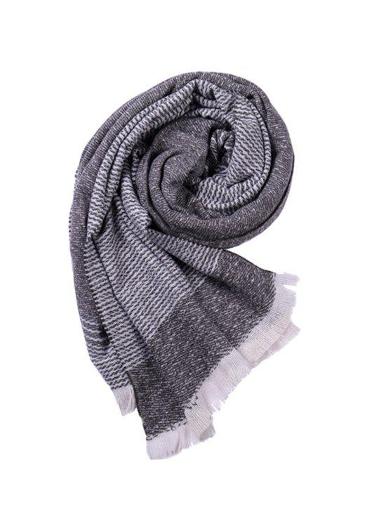Cheap Striped Warm Fringe Faux Cashmere Scarf