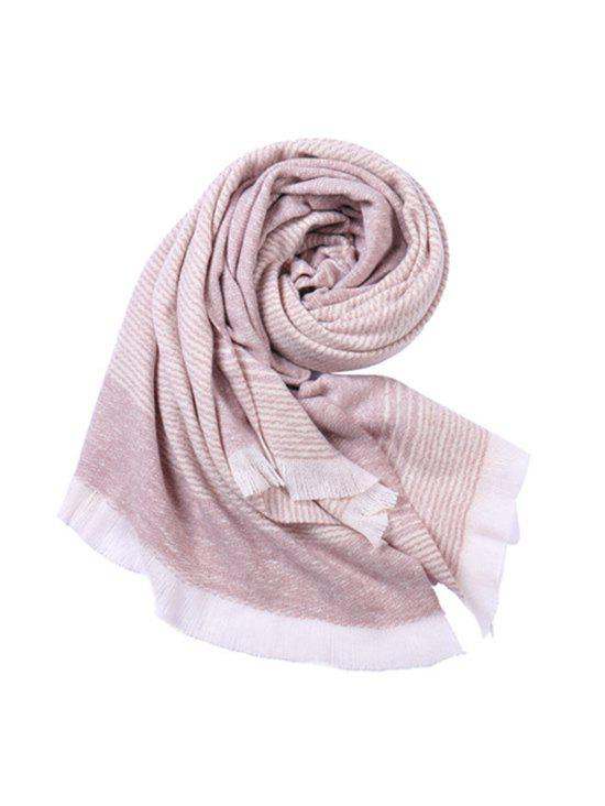 Chic Striped Warm Fringe Faux Cashmere Scarf
