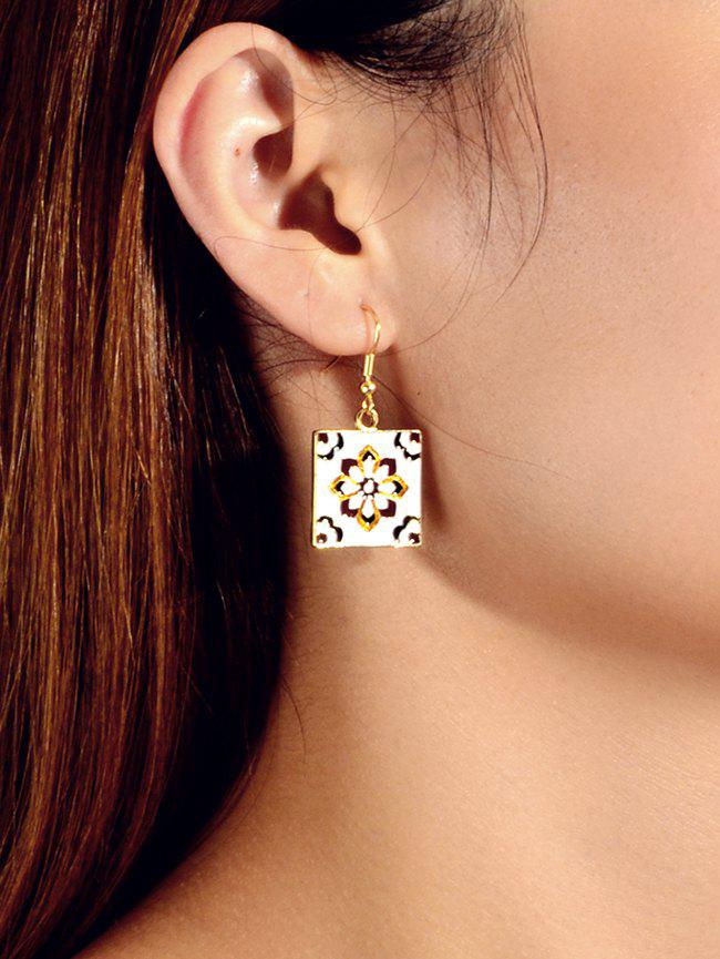 Affordable Ethnic Square Flower Carved Dangle Earrings