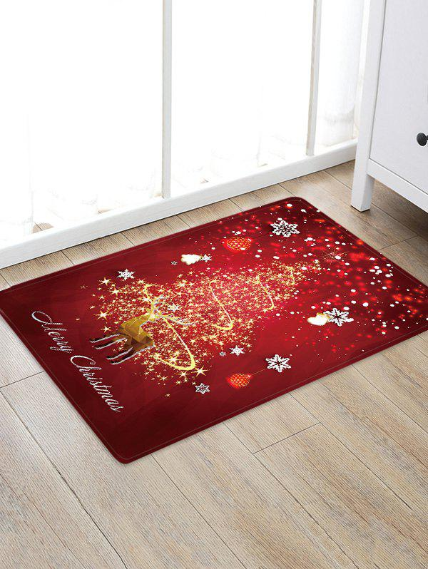Discount Christmas Tree Deer Greeting Pattern Water Absorption Area Rug