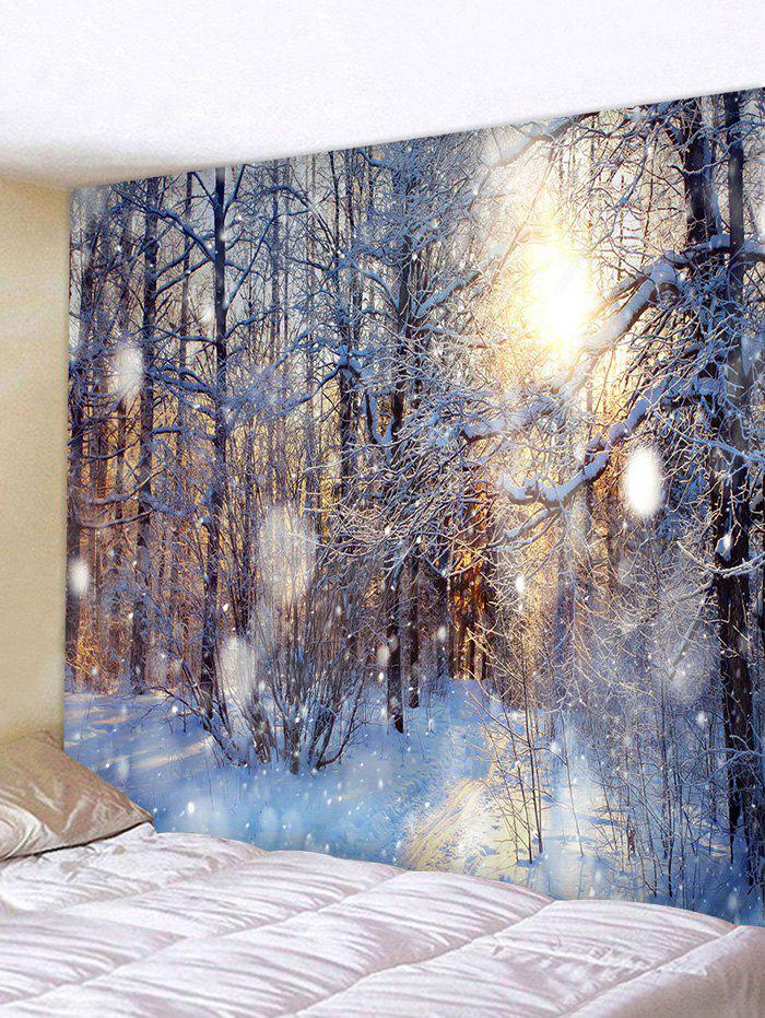 Trendy Sunlit Snow Forest Print Tapestry Wall Hanging Art Decoration