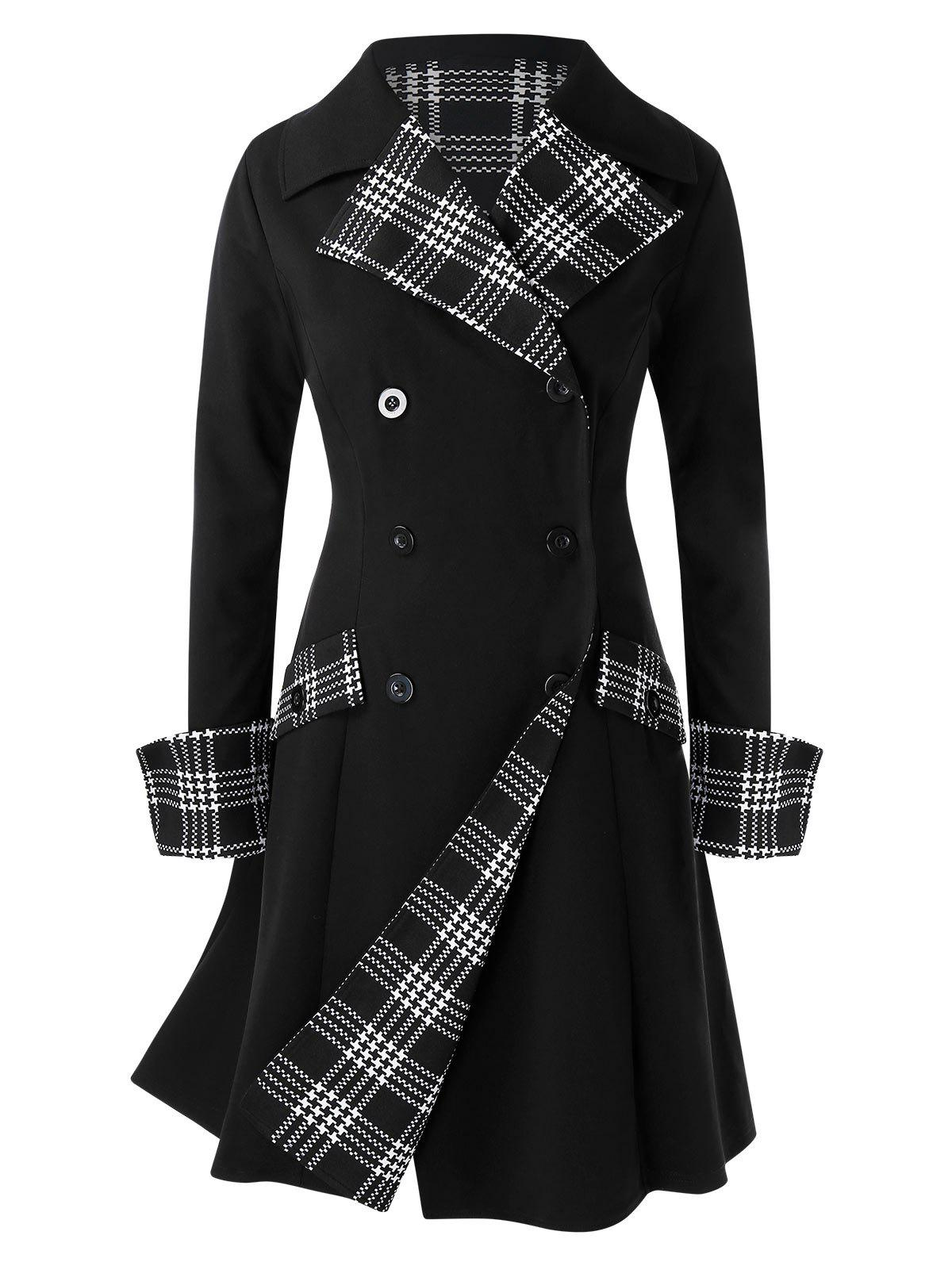 Hot Plus Size Checked Splicing Double-reasted Coat