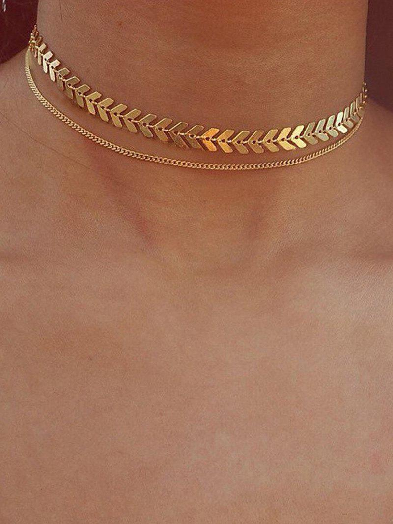 Fancy Arrow Chain Double Layer Choker Necklace