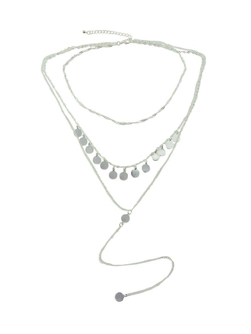 Online Layered Disc Tassel Long Chain Necklace