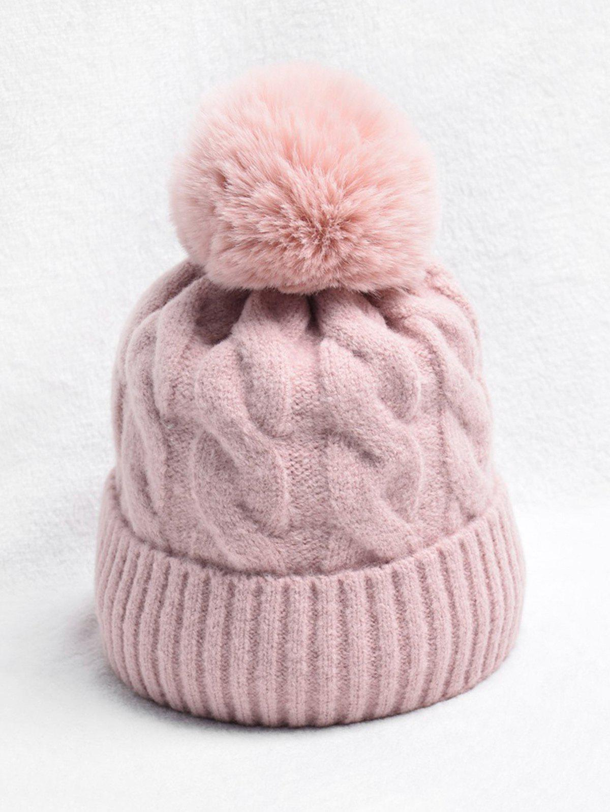Chic Turn Up Edge Braided Knitted Bobble Hat