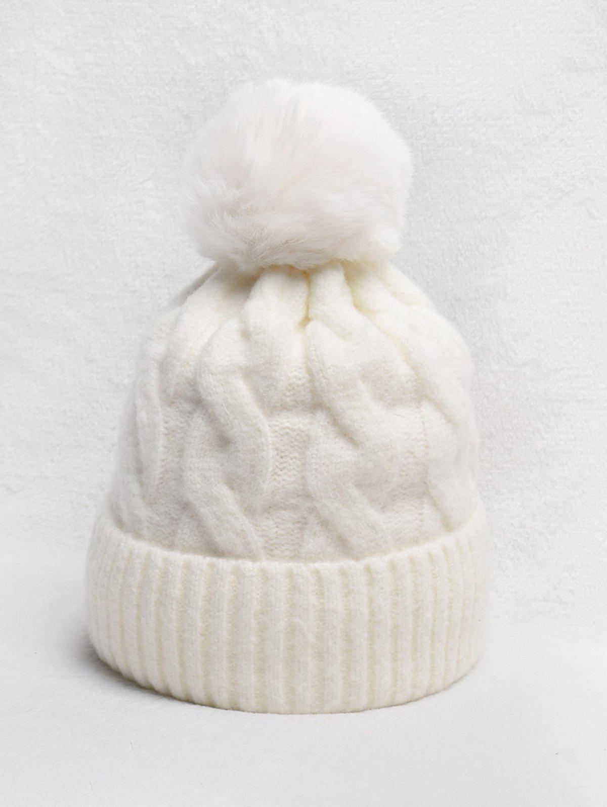 Buy Turn Up Edge Braided Knitted Bobble Hat