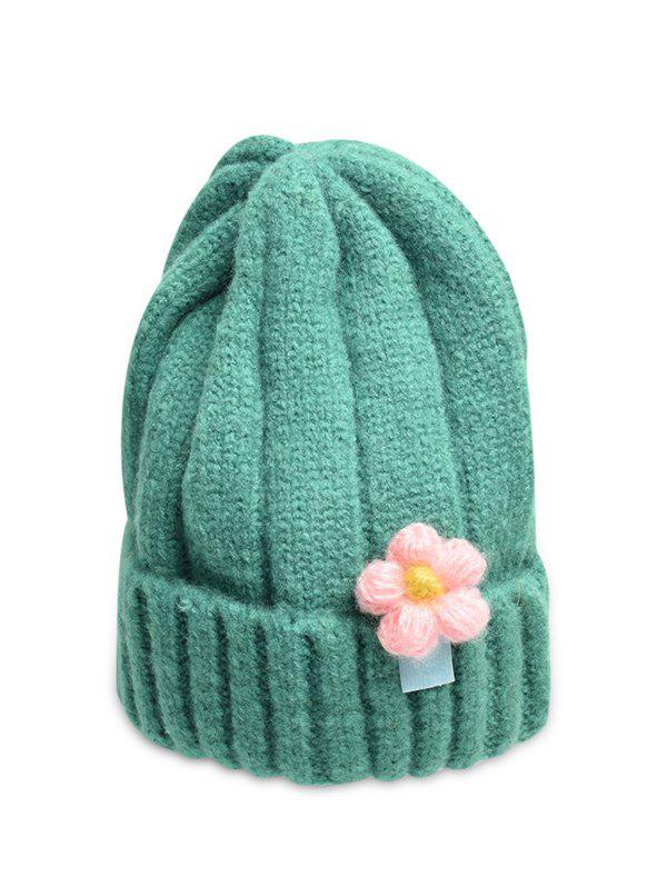 Affordable Winter Floral Turn Up Edge Knitted Hat