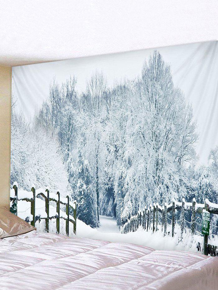 Affordable Snow Forest Bridge Road Print Tapestry Wall Hanging Art Decoration