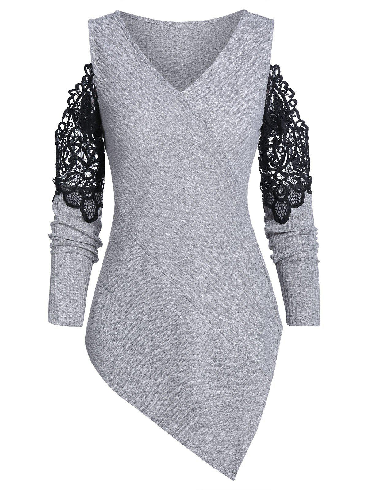 Cheap V Neck Cold Shoulder Asymmetric Sweater