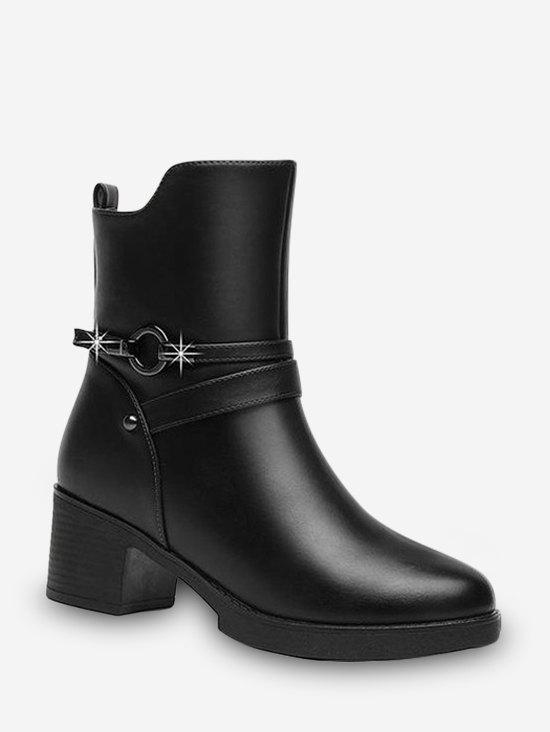 Online Circle Strap Chunky Heel Mid Calf Boots