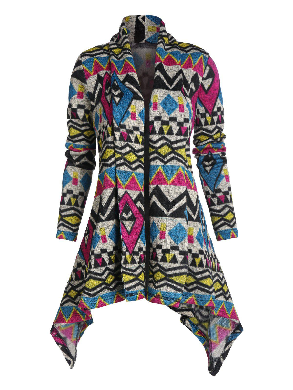 Hot Tribal Pattern Open Front Hanky Hem Cardigan