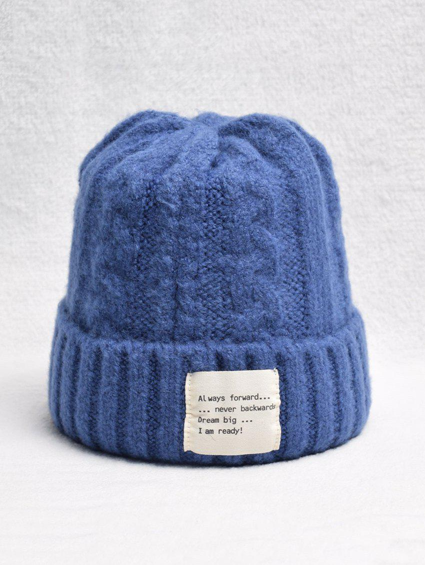 Discount Winter Turn Up Edge Braid Knitted Hat