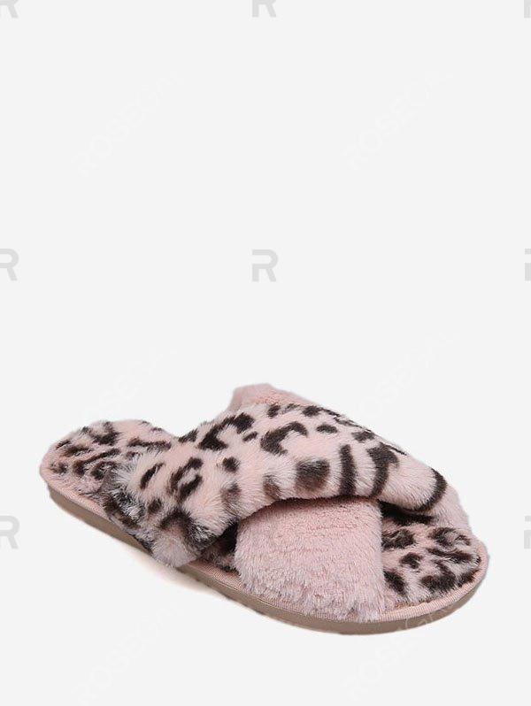 Store Leopard Print Criss-cross Faux Fur Flat Shoes