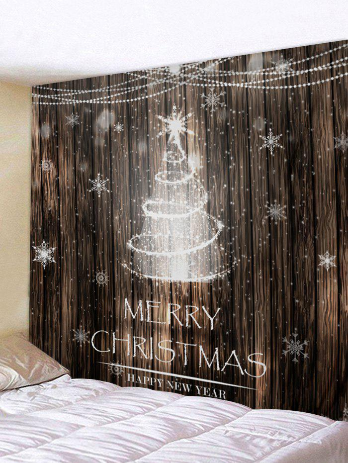 Fancy Christmas Tree Wooden Pattern Tapestry