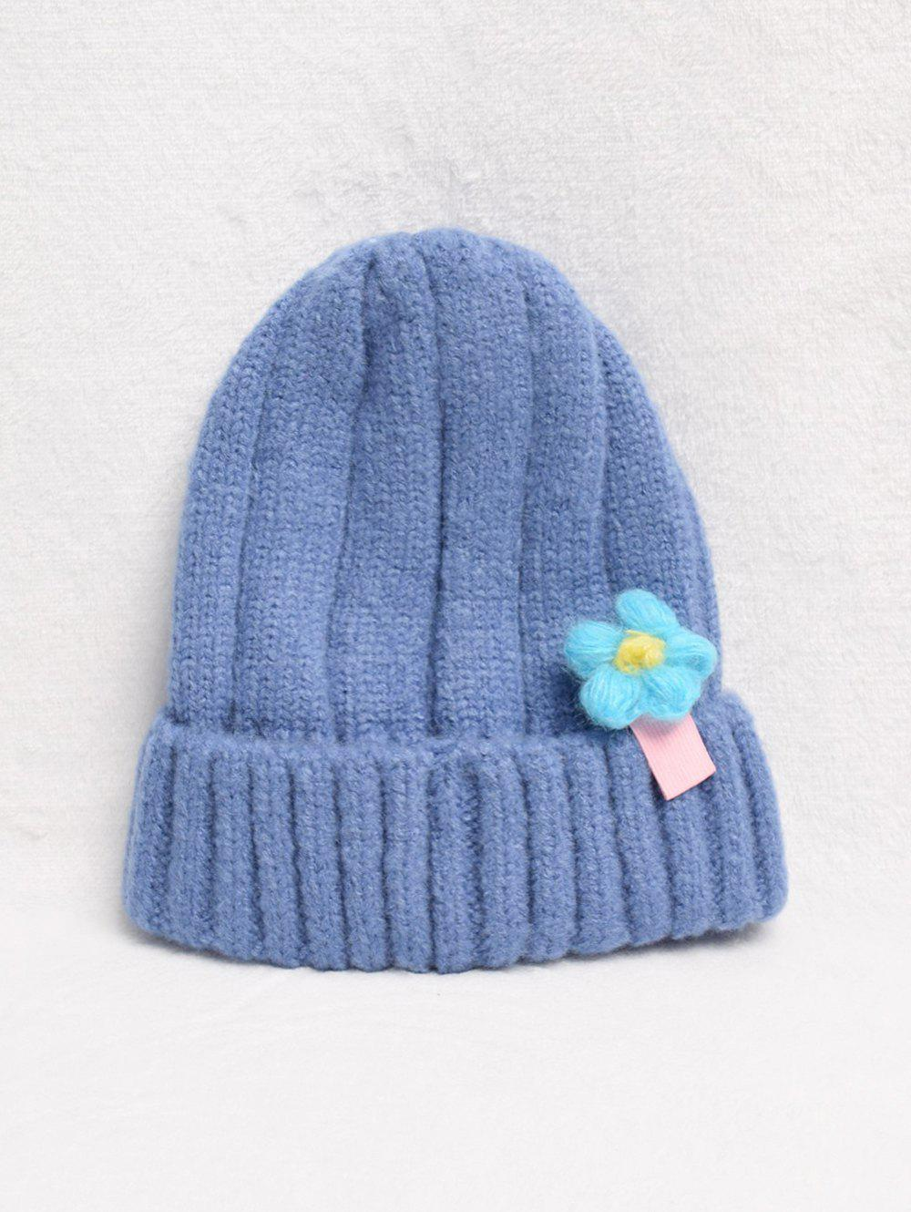 Fashion Winter Flower Turn Up Edge Knitted Hat
