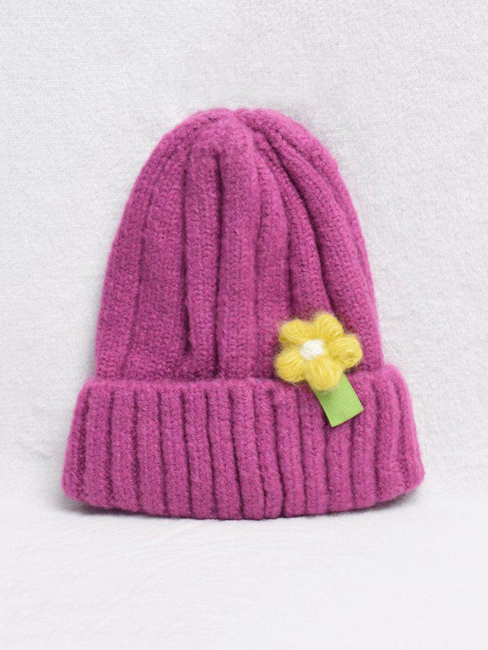 Store Winter Flower Turn Up Edge Knitted Hat
