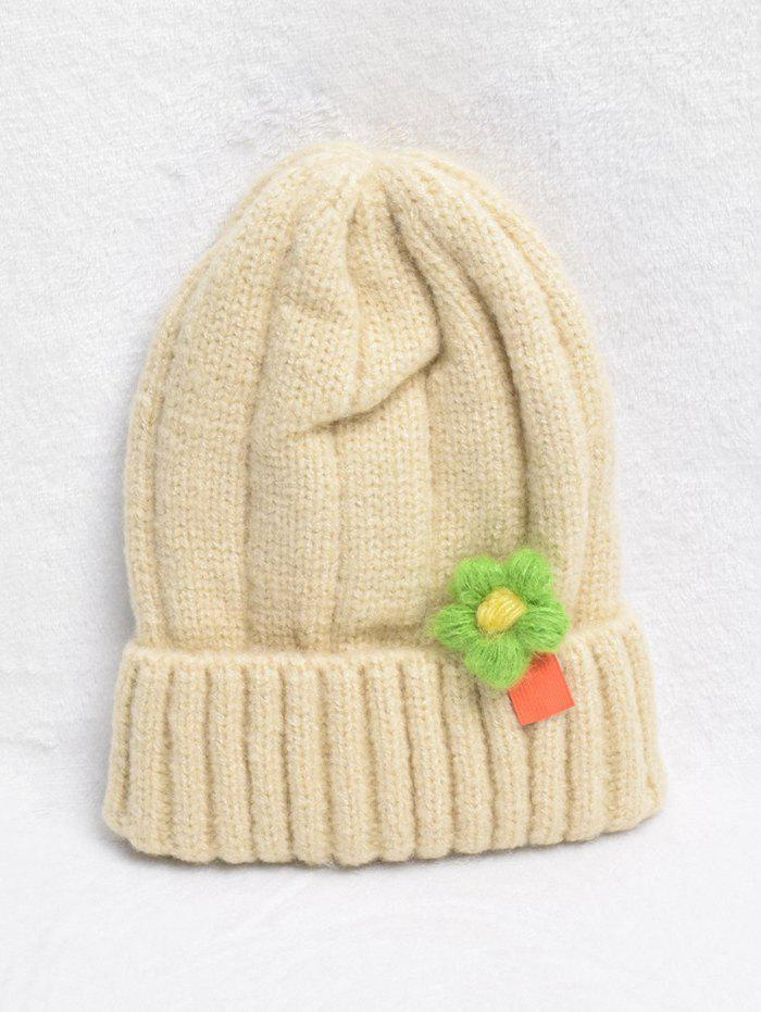 Chic Winter Flower Turn Up Edge Knitted Hat