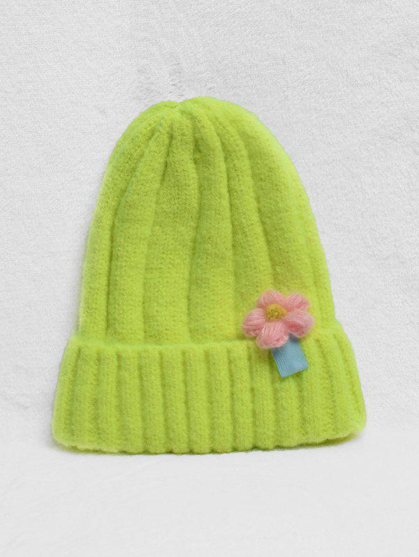 Unique Winter Flower Turn Up Edge Knitted Hat