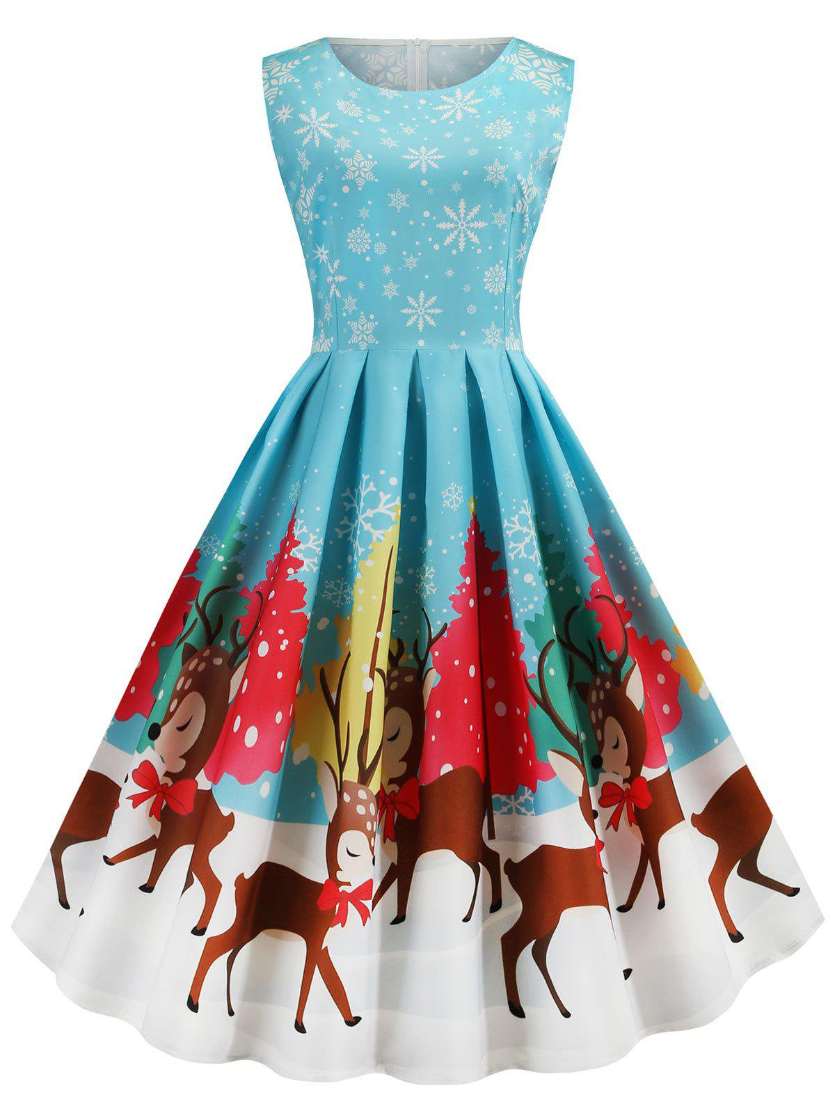 Buy Plus Size Christmas Print Vintage 1950s Dress