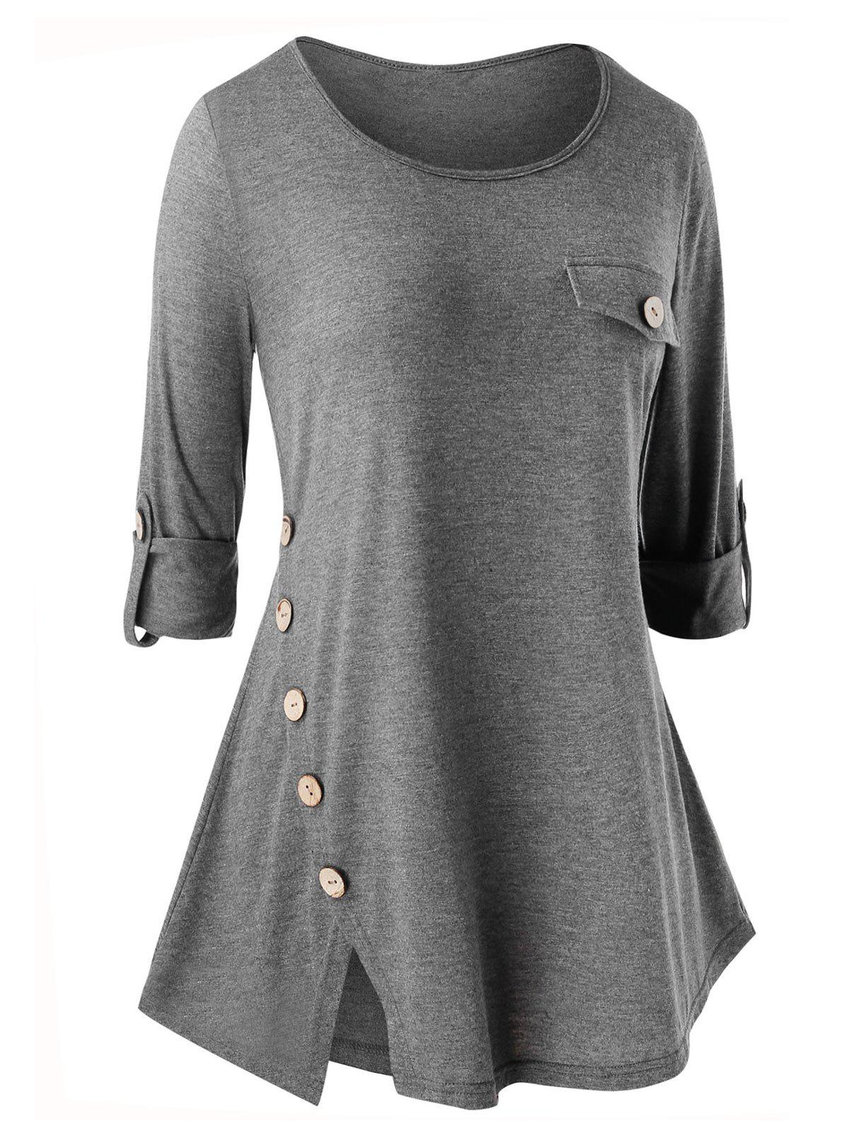 Hot Plus Size Button Embellished Slit Long Sleeve T-shirt