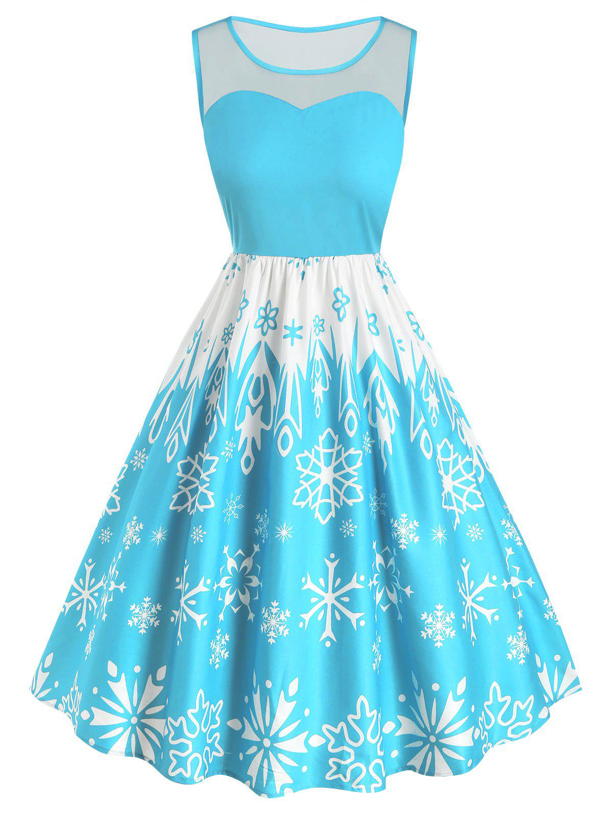 Plus Size Christmas Vintage Snowflake Print Party Dress фото