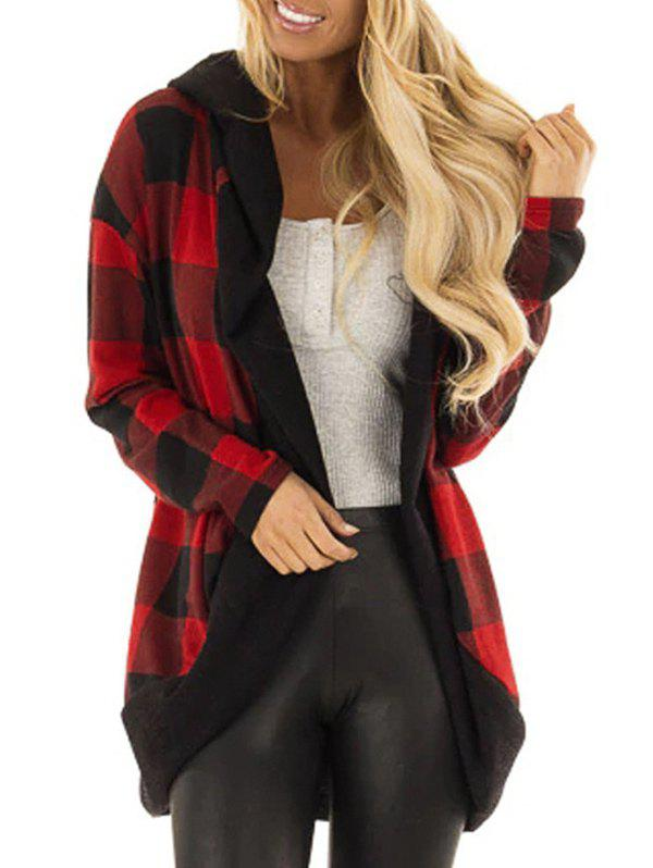 Hooded Plaid Open Front Cardigan фото