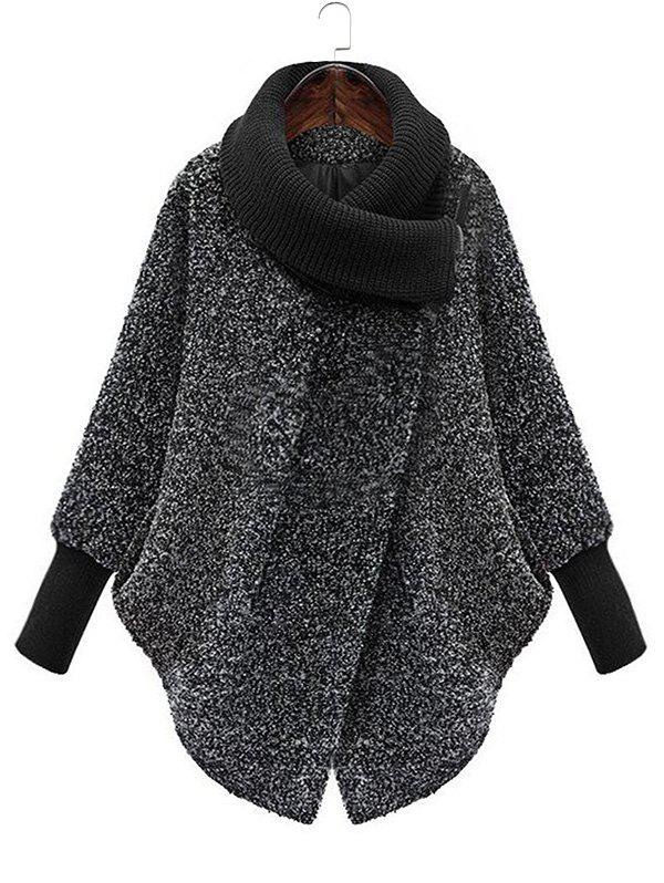Buy Snap Button Cowl Neck Textured Coat