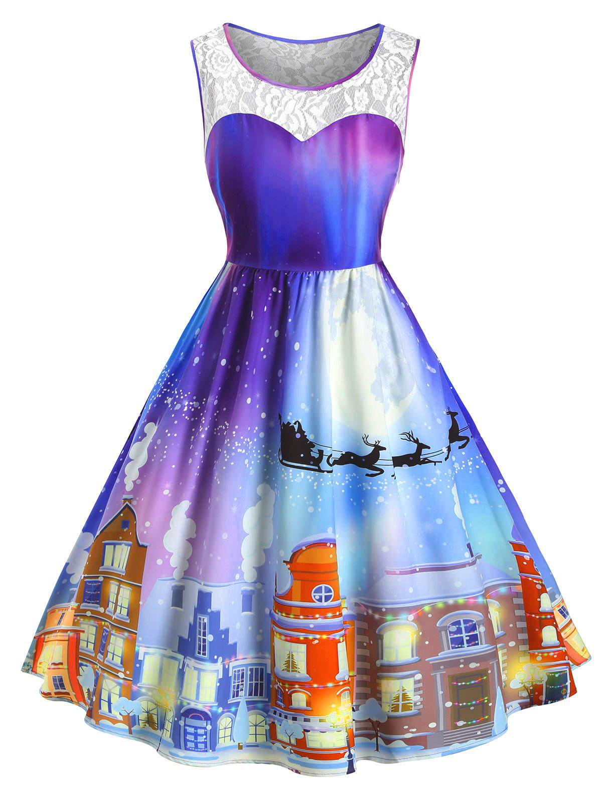 Fashion Plus Size Christmas Vintage Castle Print Party Dress