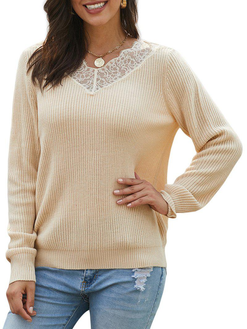 Fashion Flower Lace V Neck Pullover Sweater