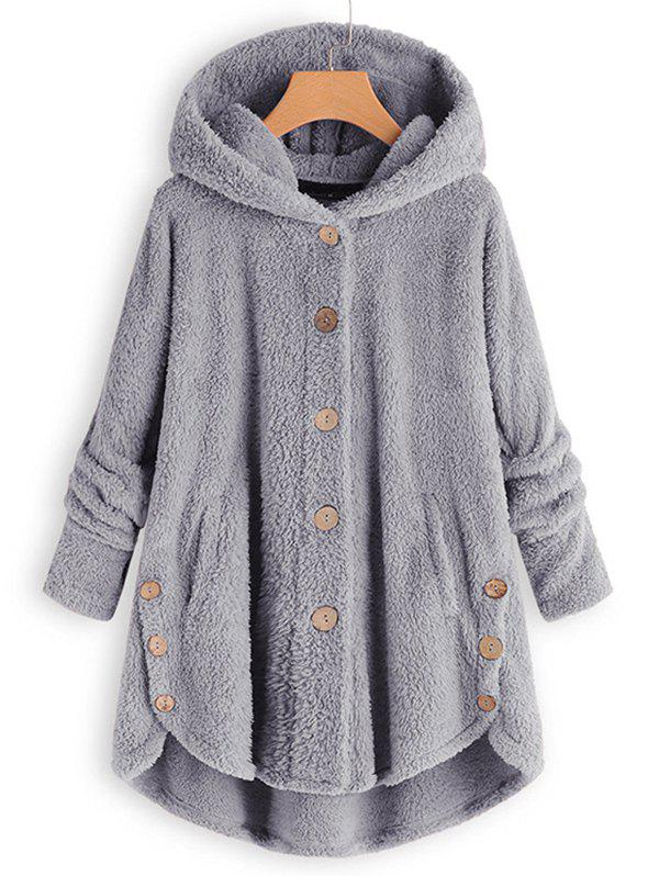Buy Plus Size Faux Shearling Buttons Hooded Coat
