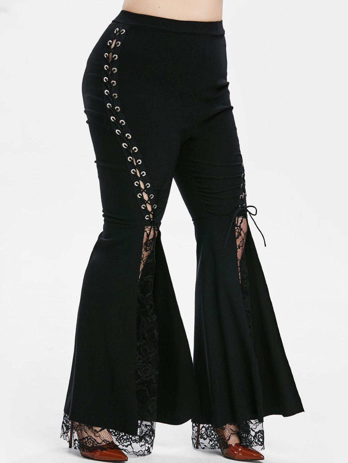 Online Lace Panel High Waisted Lace Up Plus Size Flare Pants