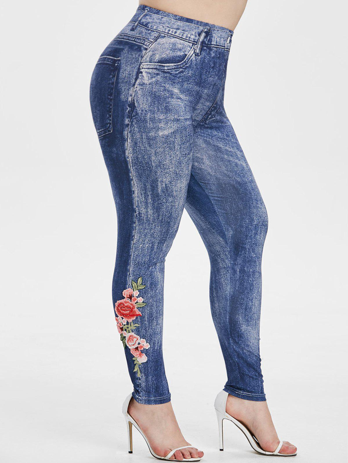 High Waisted 3D Printed Floral Applique Plus Size Jeggings Rosegal