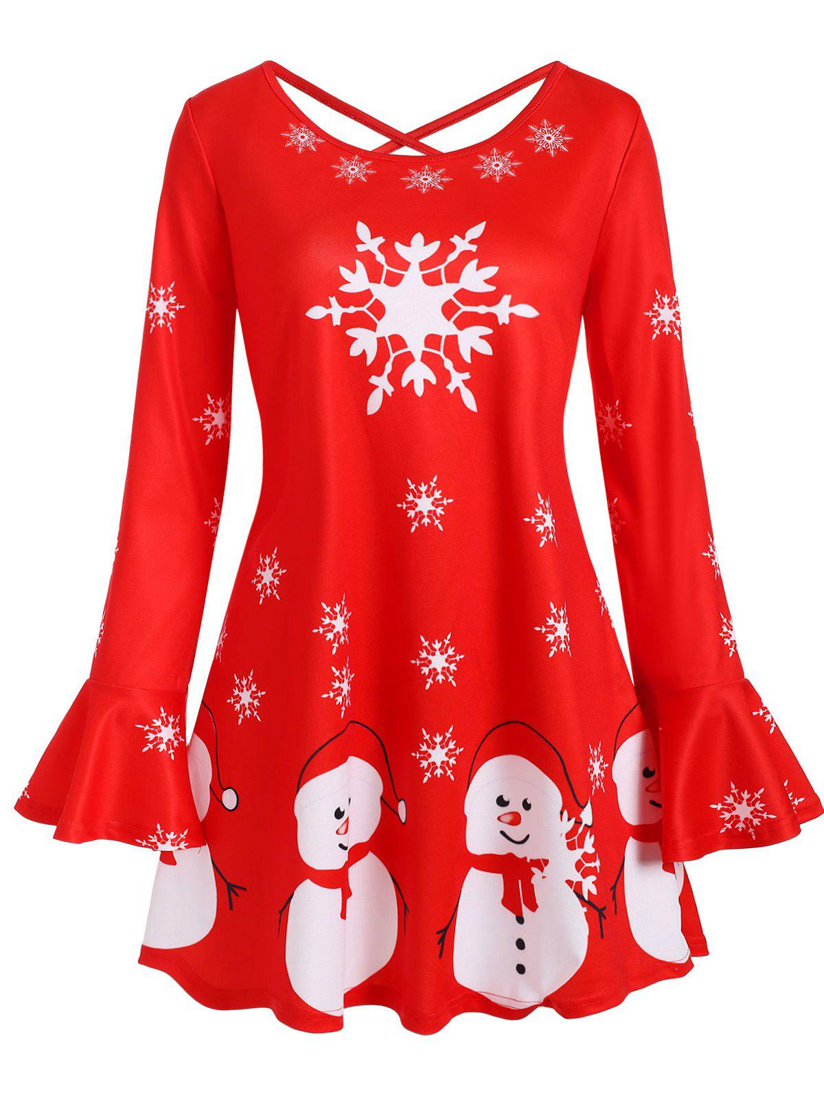 Affordable Snowman Snowflake Criss Cross Flare Sleeve Christmas Plus Size Top