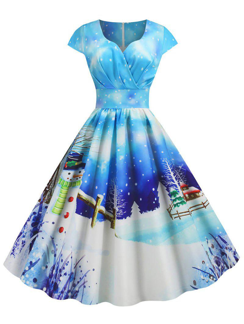 Hot Plus Size Christmas Vintage Snowman Print Party Dress