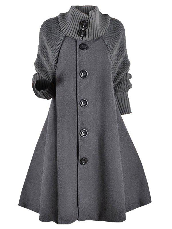 Trendy Knitted Sleeve Button Up Wool Blend Plus Size Coat