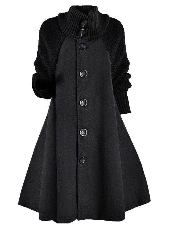 Shops Knitted Sleeve Button Up Wool Blend Plus Size Coat