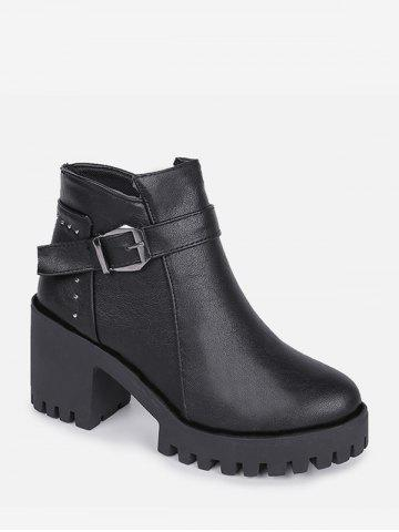 Chunky Heel Buckle and Rivet Embellished PU Leather Ankle Boots