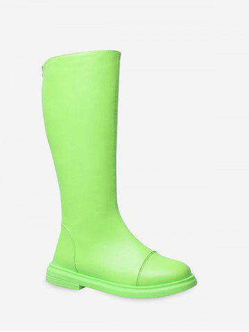 Neon Plain Low Heel Knee High Boots